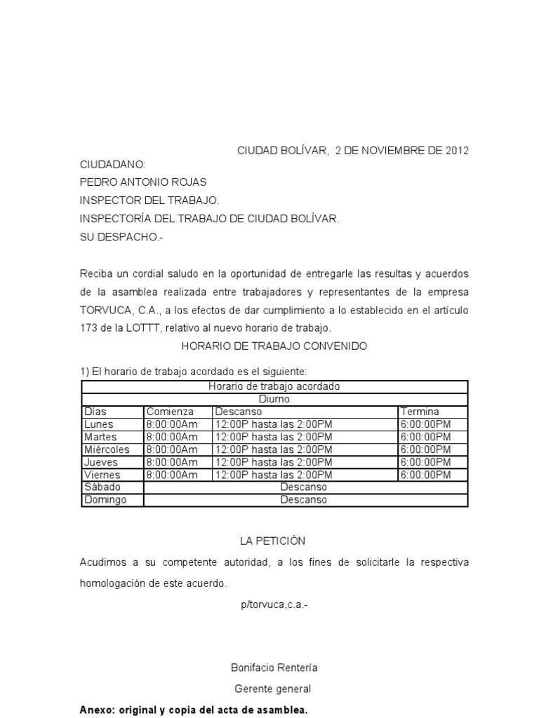 Acta Convenio Trabajadores Empresa Nuevo Horario De