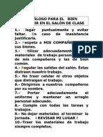 DECÁLOGO DEL SALÓN DE CLASE