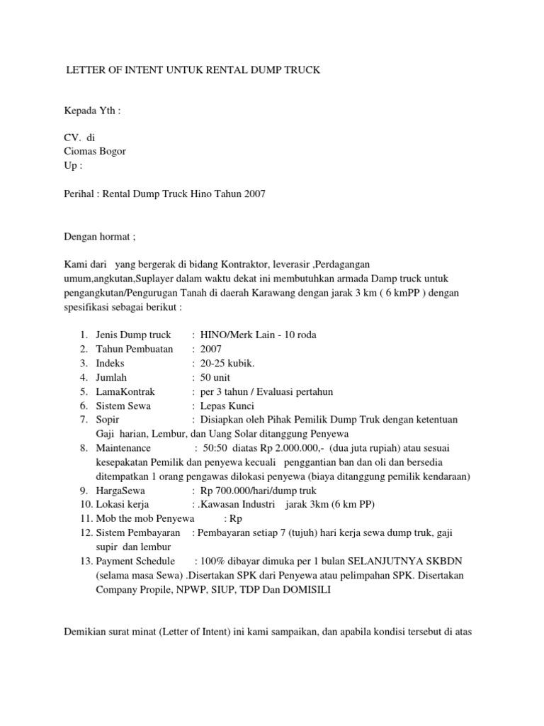 Contoh Surat Keseriusan LOI