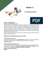 Boletín 11 de correo real de las mariposas monarca, octubre de 2012