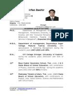 Curriculum Vitae Irfan Bashir