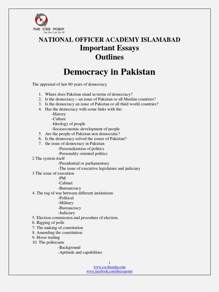 Important CSS Essays Outlines | Pakistan | Mujahideen