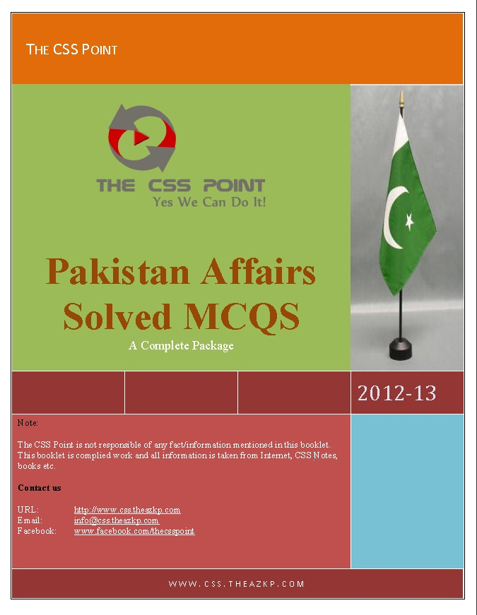 Pakistan Affairs Solved Mcqs A Complete Package All India Muslim