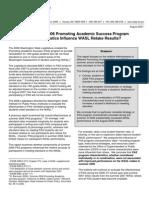 Do Summer 2006 Promoting Academic Success Program Characteristics Influence WASL Retake Results?