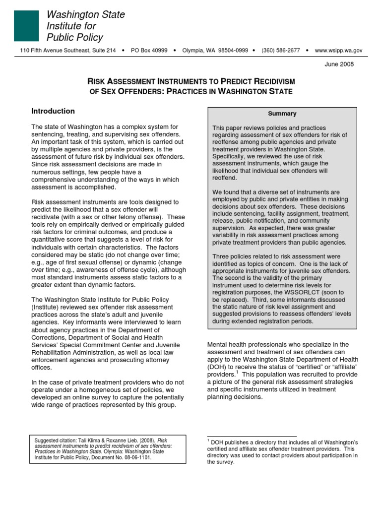Risk Assessment Instruments To Predict Recidivism Of Sex Offenders Practices In Washington State Sex Offender Registries In The United States Sex Offender