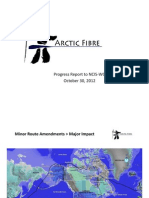 Arctic Fibre Progress Report to NCIS-WG Oct 31, 2012