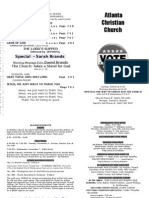 November 4, 2012 Church Bulletin