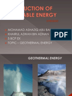 Renewable Energy - Geothermal Energy