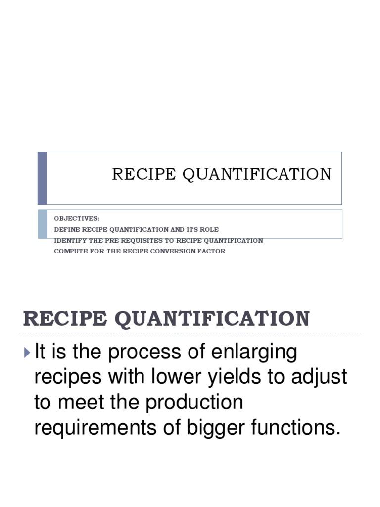 Recipe Quantification Weight Soup