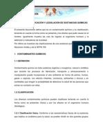 DEFINICIÓN, CLASIFICACIÓN Y LEGISLACIÓN DE SUSTANCIAS QUÍMICAS