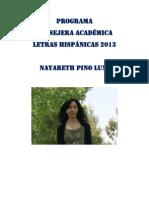 PROGRAMA CONSEJERA ACADÉMICA LETRAS HISPÁNICAS 2013