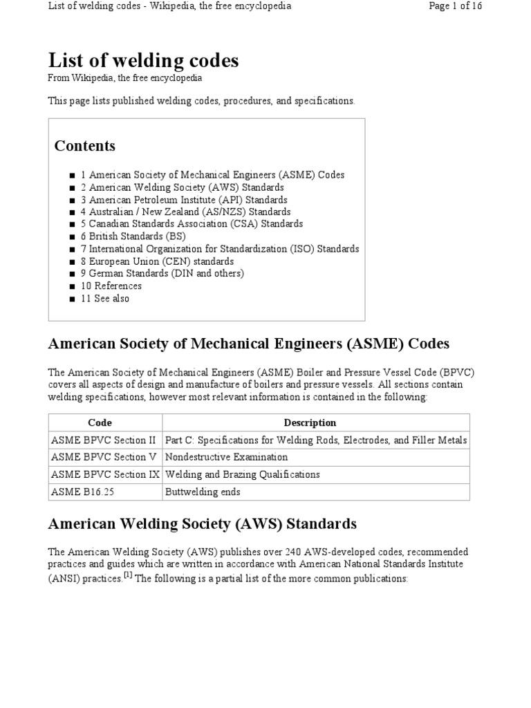 aws list of welding codes welding steel rh scribd com ASME Boiler Operating Codes ASME Boiler Operating Codes
