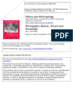 Ethnography, Silence, Torture and Knowledge