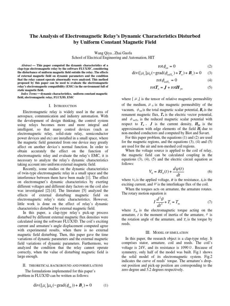2009 Analysis of Electromagnetic Relay s Disturbed by Constant