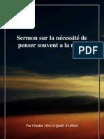 Sermon Sur La Necessite de Penser Souvent a La Mort