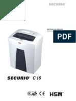 Niszczarka Securio C16 Instrukcja obsługi