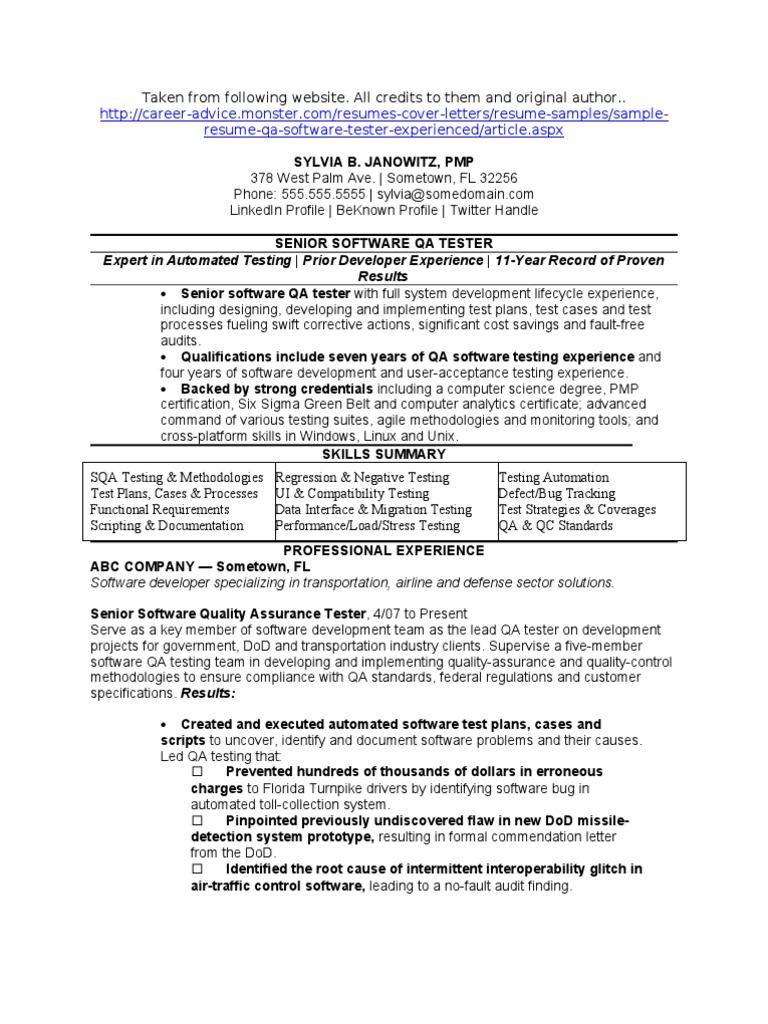 Sample Sqa Qa Software Quality Assurance Resume Quality