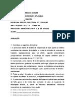 AVALIAÇÃO DIREITO PROCESSUAL DO TRABALHO - 2012.1 - versão dos alunos