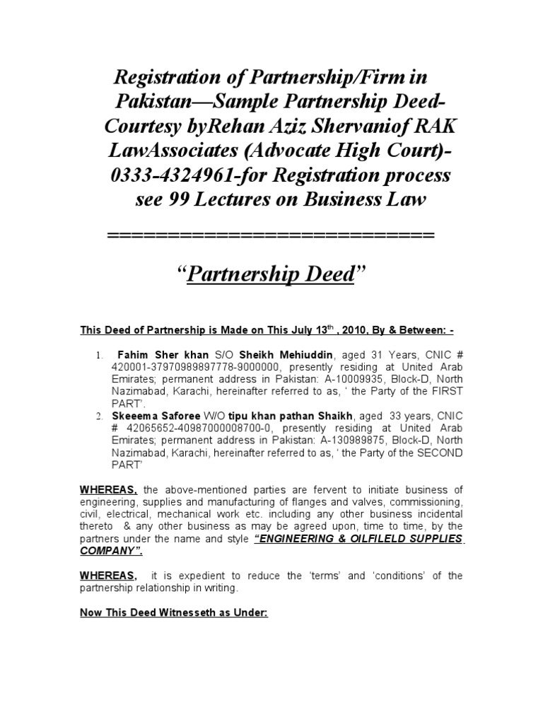 Registration of partnershipfirm in pakistansample partnership deed registration of partnershipfirm in pakistansample partnership deed rehan aziz shervani advocate high court 0333 4324961 for registration process see 99 altavistaventures Image collections