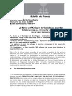 17-06-2011 La Banca y el Municipio de Guadalajara acuerdan Colaboración para reforzar la seguridad en sucursales bancarias