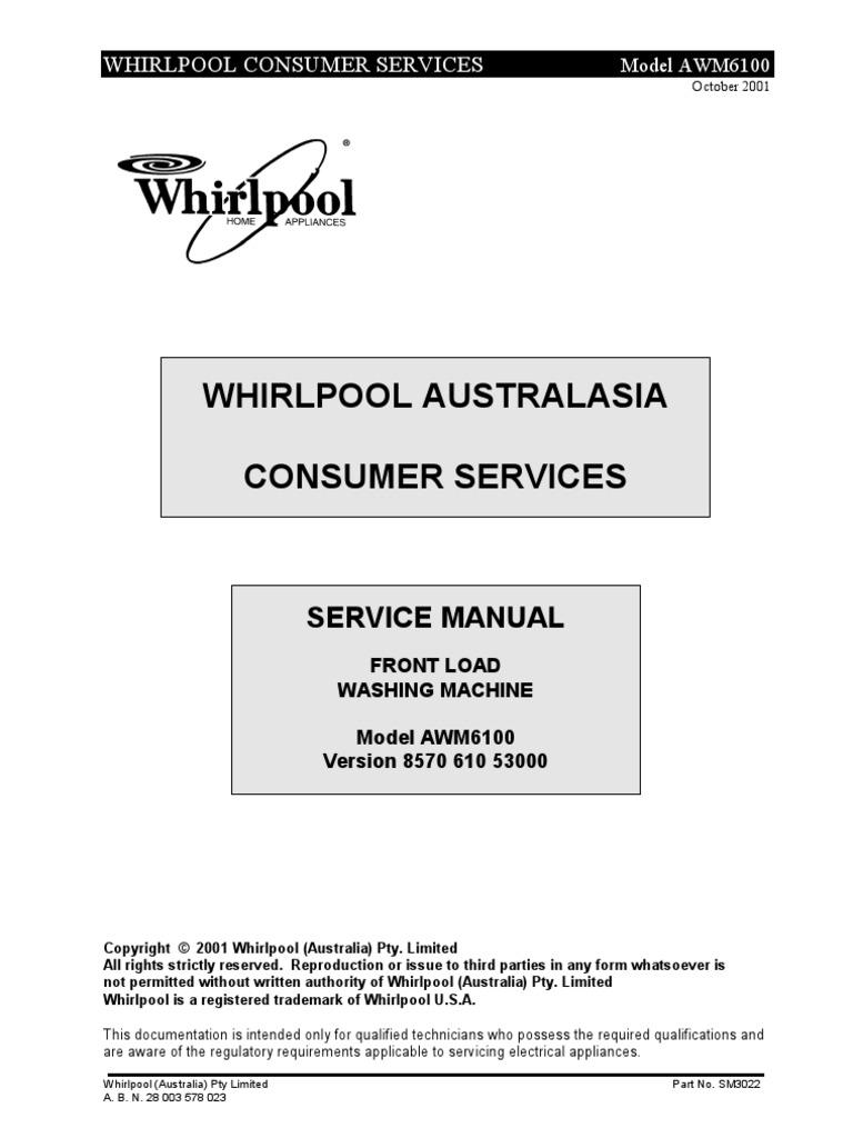 lavadora whirlpool awm6100 service manual | Washing Machine ...