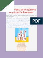 La Enseñanza de los Números en Educación Preescolar