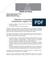 08-07-2011 Subsidios en Guadalajara_ Transparentes, Legales