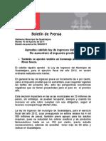 16-08-2011 Aprueba cabildo ley de ingresos del 2012. No aumentará el impuesto predial.