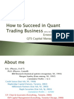 How to Start a Hedge Fund Quant Trading Business by Ernie Chan