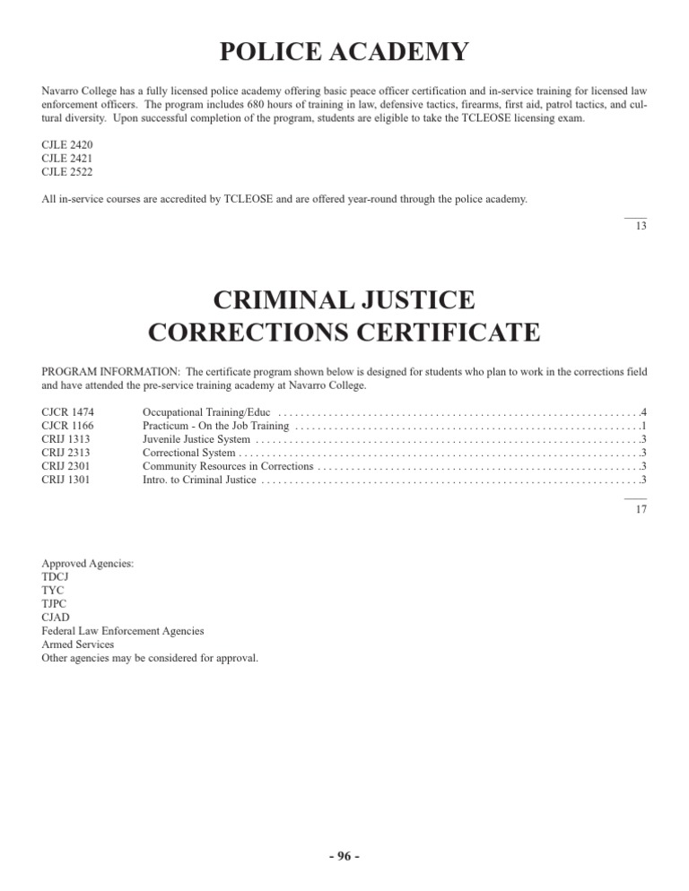 Criminal Justice Corrections Certificate Plan
