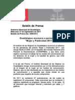 """27-09-2011 Guadalajara reconoce a periodistas  """"Mujer y Publicidad 2011"""""""