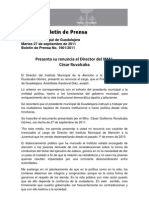 27-09-2011 Presenta su renuncia el Director del IMAJ, César Ruvalcaba