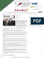 05-10-12 El Sol de México - Óptimo crecimiento de Puebla en inversiones, turismo, obras y empleos