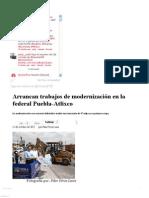 11-10-12 Sexenio Puebla - Arrancan trabajos de modernización en la federal Puebla-Atlixco