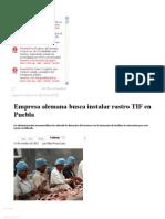 12-10-12 Sexenio Puebla- Empresa Alemana Busca Instalar Rastro TIF en Puebla