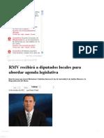 14-10-12 Sexenio Puebla - RMV recibirá a diputados locales para abordar agenda legislativa