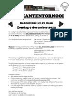Uitnodiging Recreantentornooi de Haan 9 Dec 2012