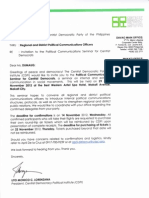CDPI Invitation to Political Communications Seminar for CDP