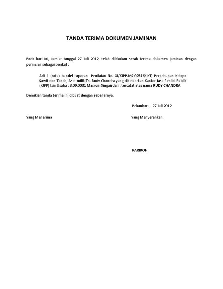 Tanda Terima Dokumen Jaminan