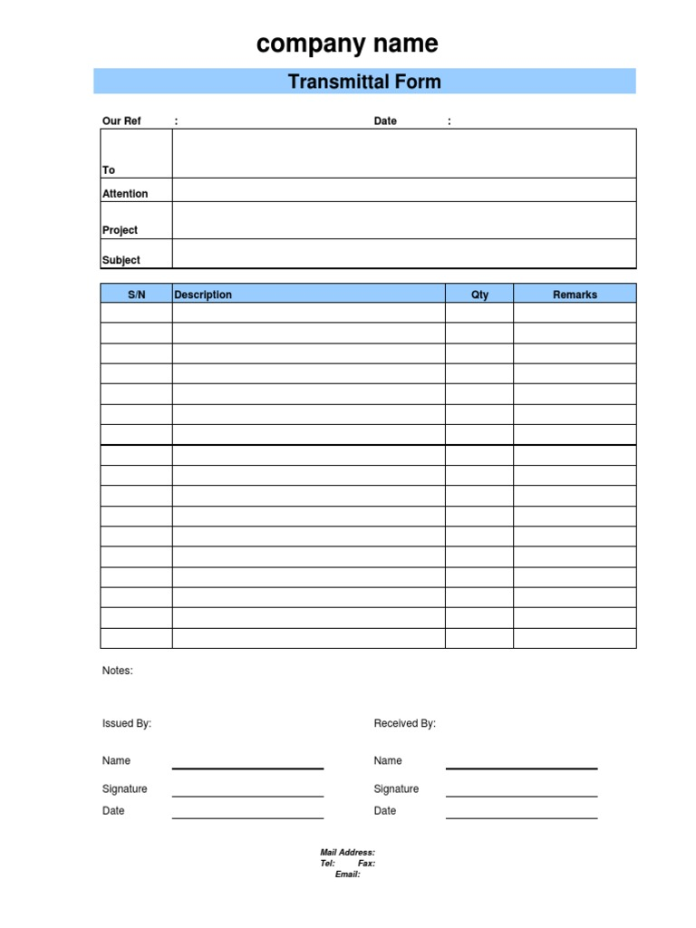 Document Transmittal Form – Transmittal Format