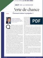 Perte de Chance Semaine Juridique Club Des Juristes 22 Oct 2012