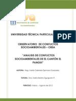 ANALISIS GLOBAL DE CONFLICTOS SOCIOAMBIENTALES DE EL CANTÓN EL PANGUI