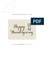 Give Thanks Happy Thanksgiving Sign 5x7 - Tomkat Studio