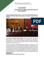 NP. Alcalde de Arequipa Solicita Impulsar El Inicio Del SIT en Arequipa.