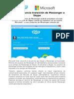 Microsoft anuncia transición de Messenger a Skype