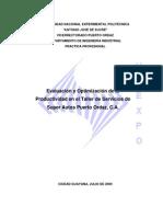 Evaluacion y Optimizacion Productividad Taller Servicios Sapo CA