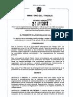 Decreto 1092 de MinTrabajo, Mayo 24 - 2012