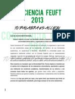 Conciencia UFT - Eje de Accion Institucional - FEUFT 2013