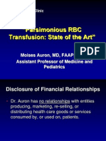 Evidence for Parsimonius RBC Transfusion