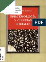 Adorno T W Epistemologia y Ciencias Sociales 1972 OCR ClScn